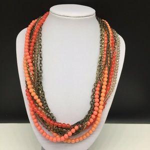 Ann Taylor Loft Coral Pink Orange Beaded Necklace